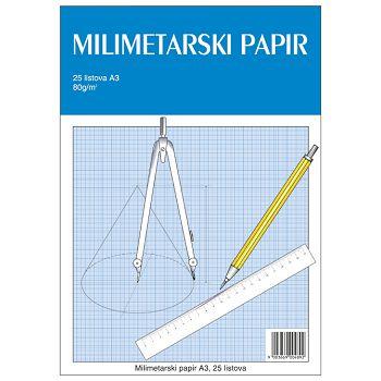 Tekamilimetarski blok A3 25 listova za tehničko crtanje Educa