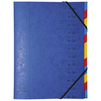 Mapa za odlaganje spisa 12 pregrada s gumicom karton Exacompta 54122E plava