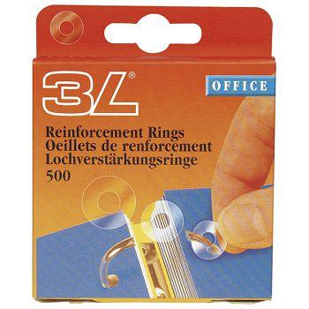 Etikete za ojačanje rupa fi13mm pp pk500 3L8214500 prozirna blister