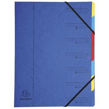 Mapa za odlaganje spisa  7 pregrada s gumicom karton Exacompta 54072E plava