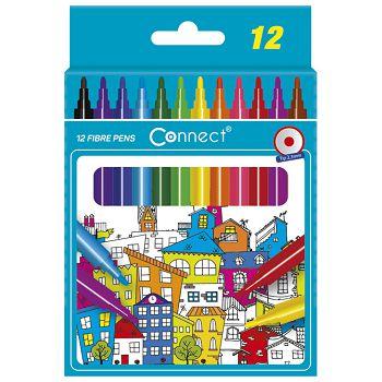 Flomaster školski  12boja karton Connect blister