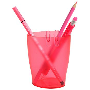 Čaša za olovke pp Exacompta 67654D prozrno roza
