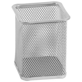 Čaša za olovke metalna žica četvrtasta 8x8x9,8cm LD0139 Fornax srebrna