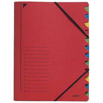 Mapa za odlaganje spisa 12 pregrada s gumicom karton Leitz 39120025 crvena