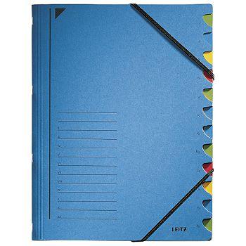 Mapa za odlaganje spisa 12 pregrada s gumicom karton Leitz 39120035 plava