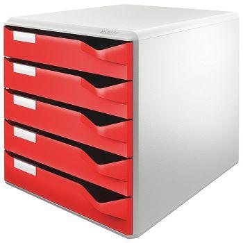Kutija s  5 ladica Post set Leitz 52800025 crvena