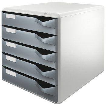 Kutija s  5 ladica Post set Leitz 52800089 siva