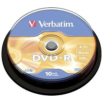 DVDR 4,7120 16x spindl Mat Silver pk10 Verbatim 43523