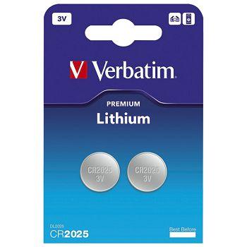 Baterija litij dugmasta 3V pk2 CR2025 Verbatim 49935 blister