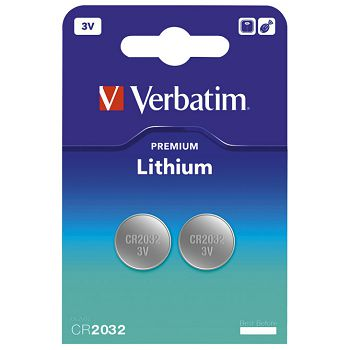 Baterija litij dugmasta 3V pk2 CR2032 Verbatim 49936 blister