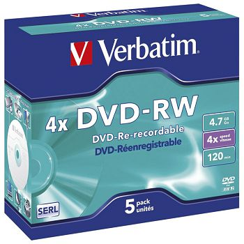 DVDRW 4,7120 4x JC Mat Silver Verbatim 43285