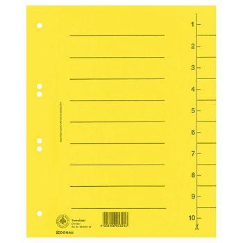 Pregrada kartonska A4 250g Donau 861000111 žuta