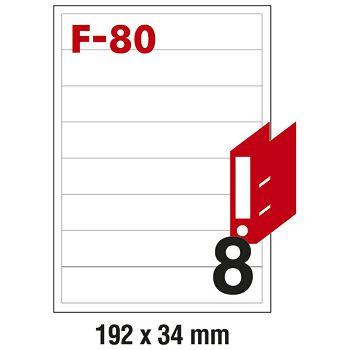 Etikete ILK za registratore 192x34mm pk100L Fornax F80