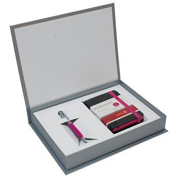 Set poklon notes Kompagnon  9,5x12,8cm crte crno roza  olovka kemijska Pelikan roza