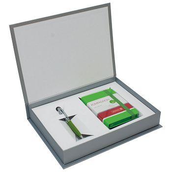 Set poklon notes Kompagnon  9,5x12,8cm crte zeleni  olovka kemijska Pelikan zelena