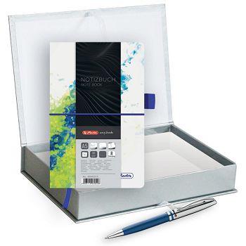 Set poklon notes Herlitz  A5 crte s gumicom plavozelena  olovka kemijska Pelikan velvet plava