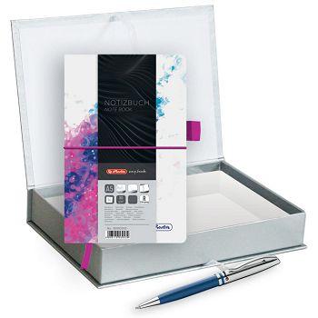 Set poklon notes Herlitz  A5 crte s gumicom pinkplava  olovka kemijska Pelikan velvet plava