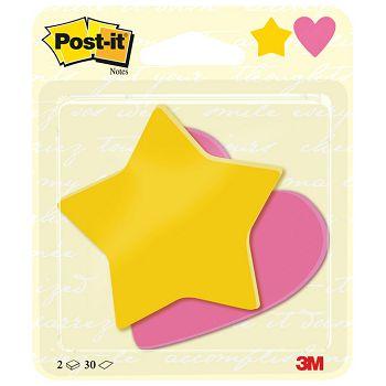 Blok samoljepljiv oblik Star and Heart 70x72mm 60L Postit 3M Blister