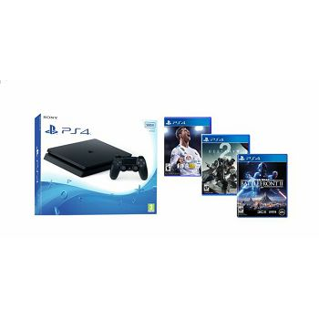 GAM SONY PS4 500G F + 3 igre: Fifa 18, Destiny 2, Star Wars