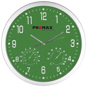Sat zidni s vlagomjerom i termometrom zeleni